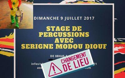 9 juillet 2017 – Stage de percussions avec Serigne Modou Diouf