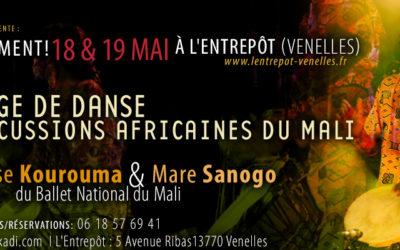 18 et 19 mai 2019 – Stages de danse et percussions africaines du Mali