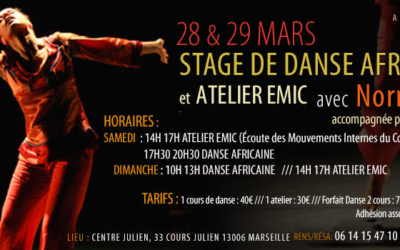 28 et 29 mars 2020 – Stage de danse africaine avec Norma Claire